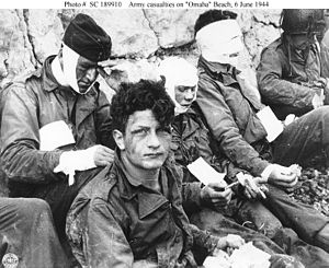 American assault troops, injured while stormin...