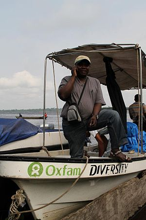Oxfam also uses boats to travel around the aff...