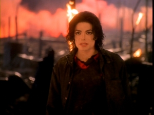Jackson walking in a burnt down forest. This s...