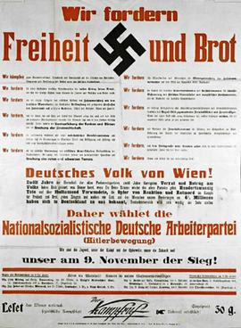 NSDAP election poster in Vienna in 1930. Trans...