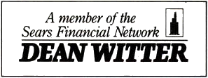Dean Witter logo under Sears ownership ca. 1984