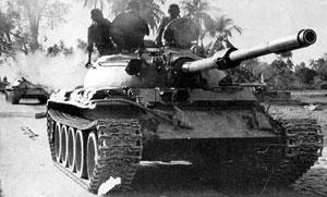 Indian T-55 tanks on their way to Dhaka.