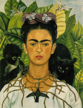 Frida Kahlo, Self-Portrait with Thorn Necklace, Hummingbird and Unibrow, 1940