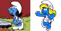 Smurfette as she originally appeared (left) an...