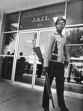 Hutton outside the Oakland Police Department Jail