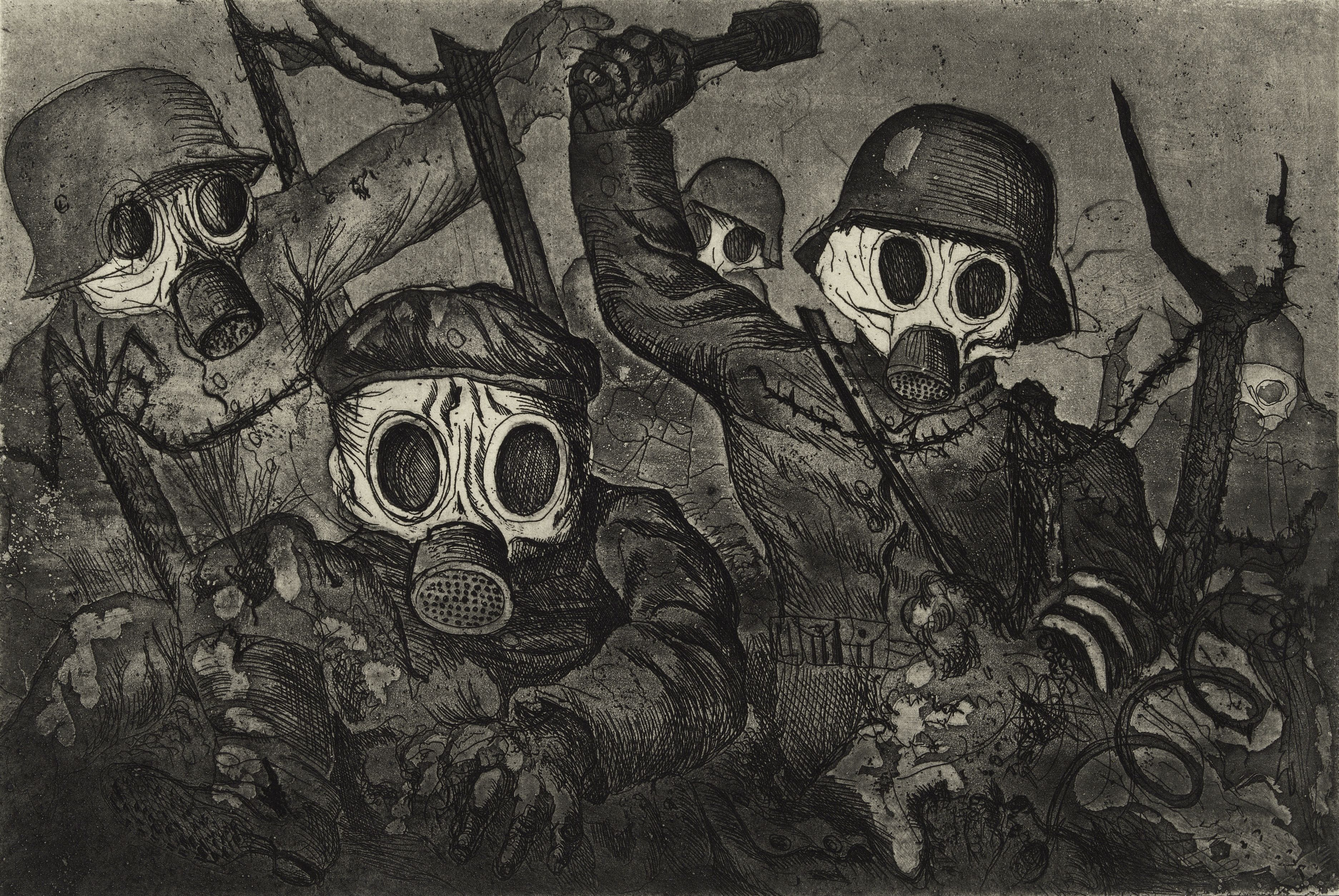 File:'Stormtroops Advancing Under Gas', etching and aquatint by Otto Dix, 1924.jpg