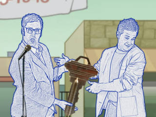 Main characters the Mayor (left) and Tom Peters