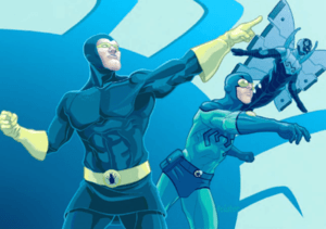 Dan Garrett, Ted Kord, and Jaime Reyes. Art from the Blue Beetle Companion, by Tom Feister.