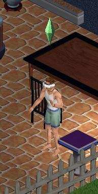 A Sim using a virtual reality simulator