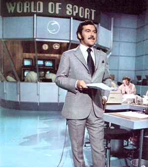 Dickie Davies in the World of Sport Studio.