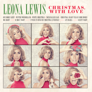 A neutral background, with nine alternate images of a female (Lewis) making various faces; her name written in green text, with the album title written in red. Cover also features the track list of the album.