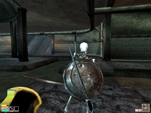A first-person screenshot from the game, demon...