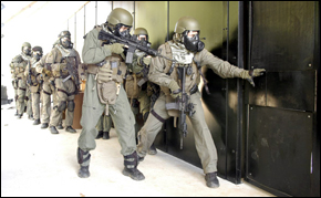 FBI SWAT in Atlanta gaining entry into a build...