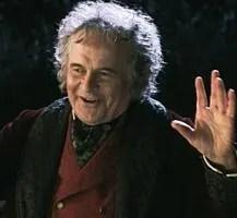 Ian Holm as Bilbo Baggins in Peter Jackson's T...
