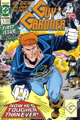 Guy Gardner with his yellow power ring.