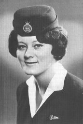 Photo of Barbara Jane Harrison in her BOAC stewardess uniform