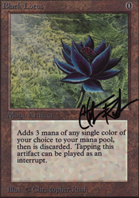 The Alpha version of the Black Lotus card (her...