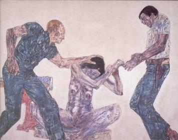File:'Interrogation III', acrylic on linen painting by Leon Golub, 1981.jpg