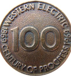 1969 western electric keychain medallion celebrating the 100th anniversary of the company s founding made from the company s recycled bronze metal of  [ 2990 x 2990 Pixel ]