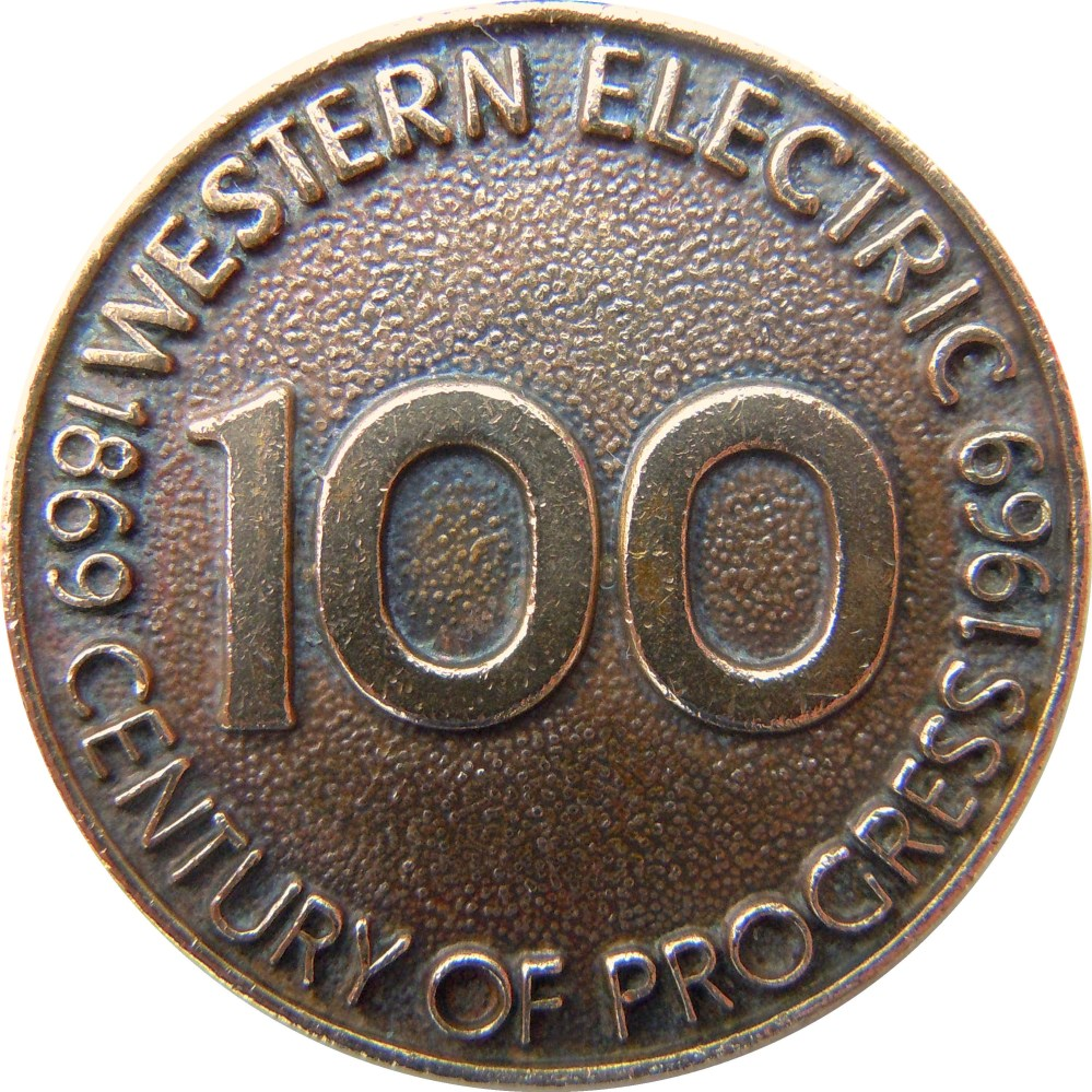 medium resolution of 1969 western electric keychain medallion celebrating the 100th anniversary of the company s founding made from the company s recycled bronze metal of