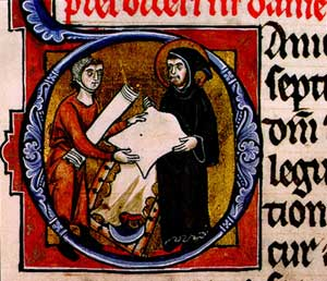 A monk inspecting a sheet of parchment which h...