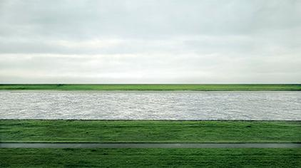 Andreas Gursky, Rhein II, 1999, C-print mounted to plexiglass in artist's frame, 81 x 140 inches