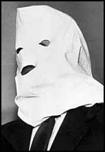 Gouzenko wearing his white hood for anonymity