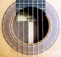 Soundhole and rosette of a Greg Smallman guitar