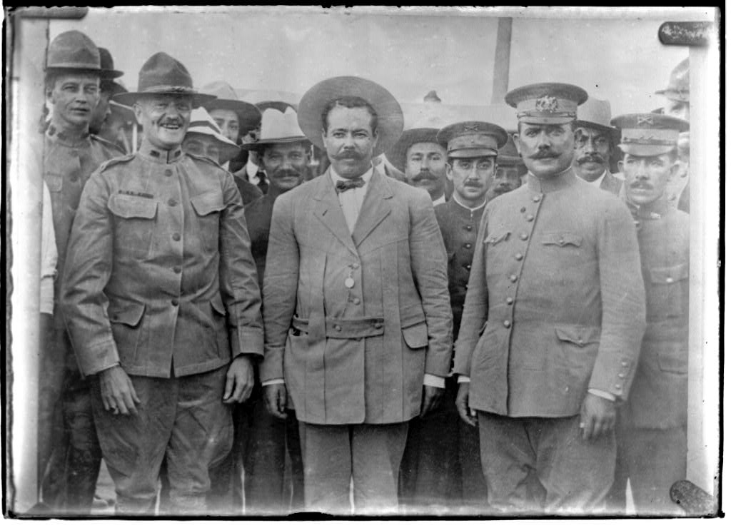 Generals John J. Pershing, Pancho Villa, and Álvaro Obregón pose for a photo at Fort Bliss, Texas, 1913