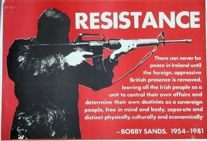 IRA political poster from the 1980s, featuring...