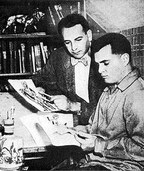 Joe Simon and Jack Kirby in their studio at wo...
