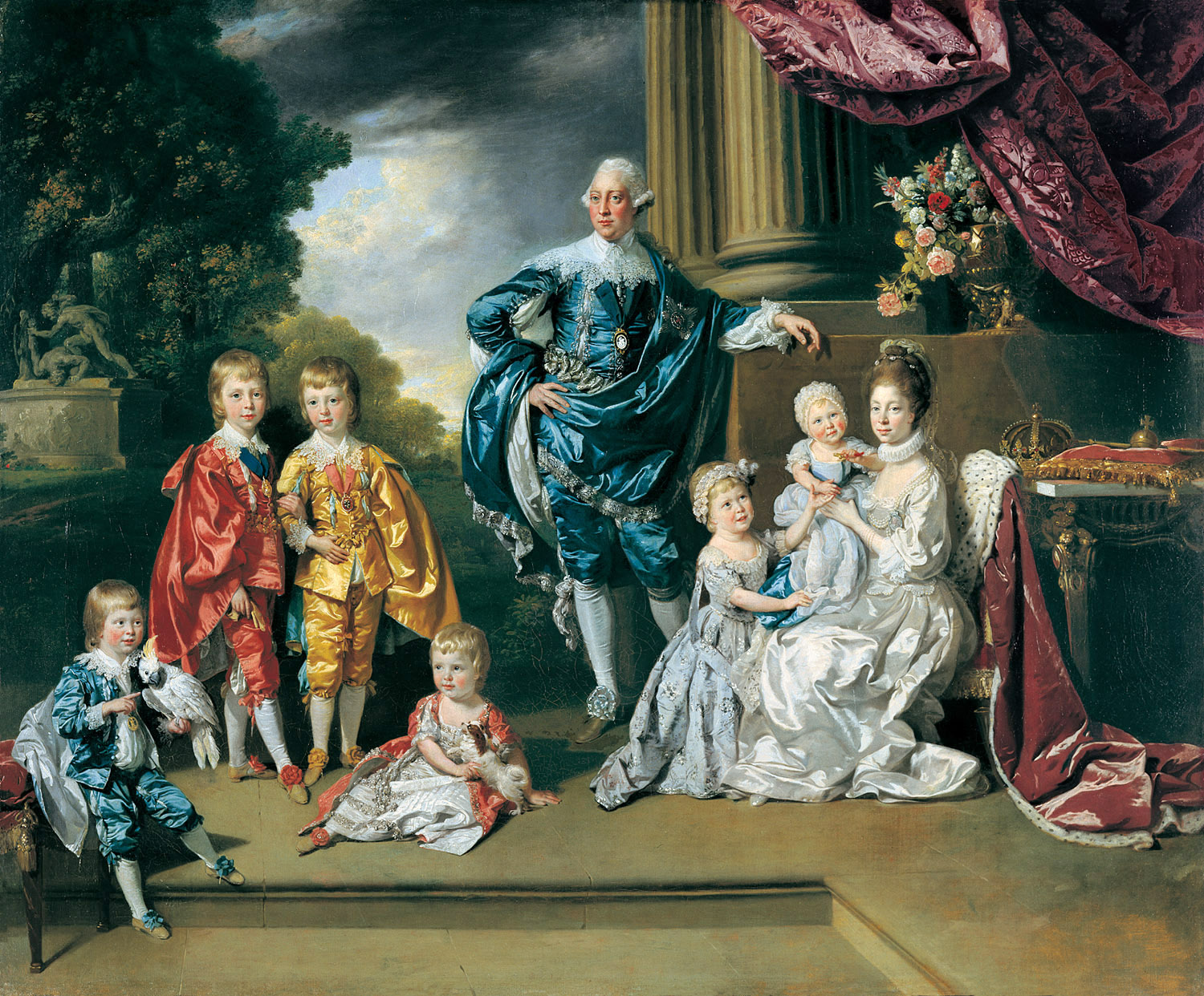 King George III and Queen Charlotte with their...