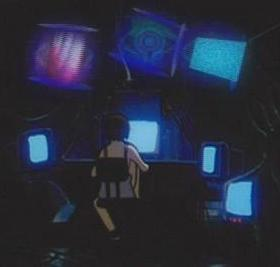 Lain's custom computer, which features hologra...