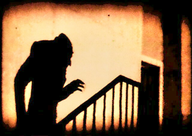A screenshot of the 1922 film, Nosferatu.