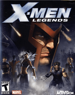 "The words ""X-Men Legends"" are written across the top, with a textured steel design covering ""X-Men"". A large head with a helmet fills most of the background. Around the figure is a dark setting, with fog covering the lower portion.  Standing in the fog are five people in combat stances. An ESRB ""T"" logo appears in the lower left, along with the Marvel Comics logo, while an Activision logo sits in the lower right."