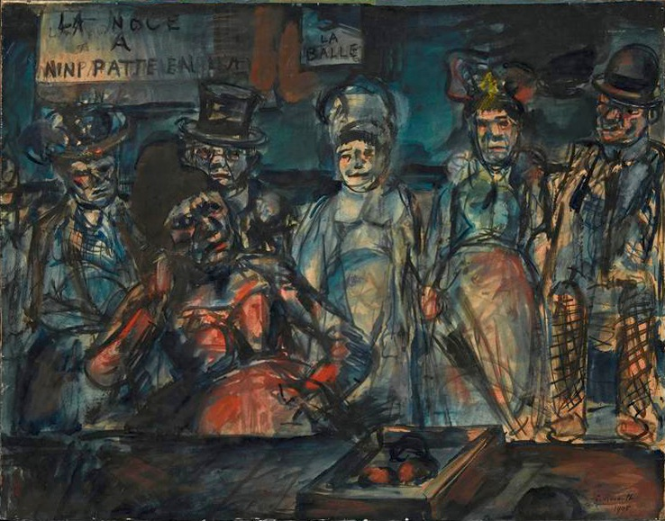 File:Georges Rouault, 1905, Jeu de massacre (Slaughter), (Forains, Cabotins, Pitres), (La noce à Nini patte en l'air), watercolor, gouache, India ink and pastel on paper, 53 x 67 cm, Centre Georges-Pompidou, Paris.jpg