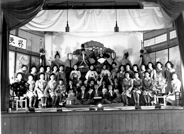 Girl Scouts at Japanese Doll Day celebration, in Crystal City, Texas, internment center, 1943-45