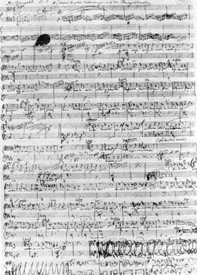 A page from Wagner's autograph score of Das Rh...