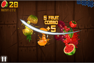 Fruit Ninja is played by using a touch pad to ...