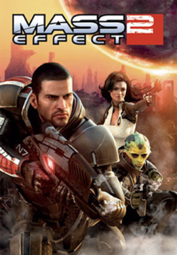 A human male soldier carries an assault rifle. On the right, a woman and a reptile-like extraterrestrial accompany the soldier. The game's logo floats above them, while the background consists of ruins on a planet with orange sky.