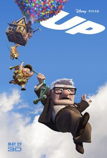 "A house is hovering in the air, lifted by balloons. A dog, a boy, and an old man hang beneath on a garden hose. ""UP"" is written in the top right corner."