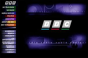 BBC website as it appeared in 1997