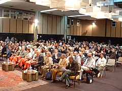 Human shields meeting in Iraq, 1 March, 2003, at the Palestine Hotel in Baghdad, Iraq