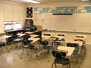 Typical elementary school classroom.