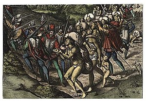Engraving of Spaniards enslaving Native Americ...