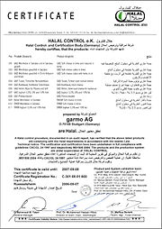 Halal certificate issued for dairy products by a German registered merchant