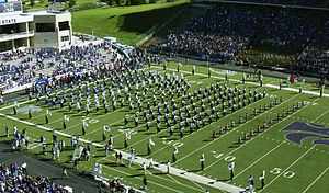 Kansas State University Marching Band marching...