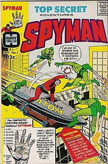 Inset of George Tuska cover, Harvey Comics' Spyman #1 (Sept. 1966)