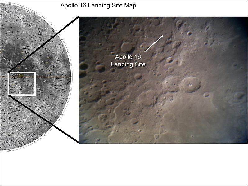 अपोलो १६ द्वारा चन्द्रमा पर उतरने का स्थान