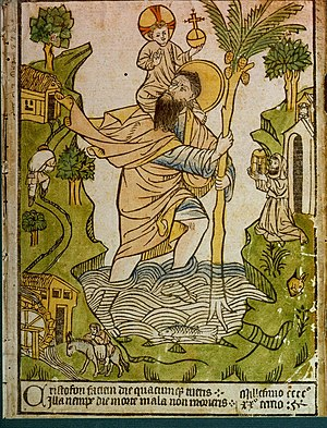 Woodcut of St Christopher, handcoloured (the e...